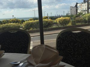 Inside restaurant looking out